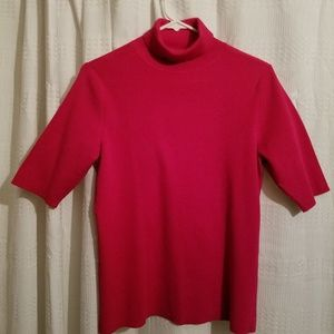 Mock turtle neck sweater. Raspberry color.